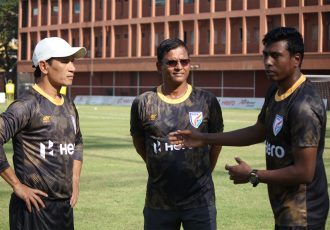 Gumpe Rime, Derrick Pereira and Shanmugam Venkatesh at the India U-23 national team camp. (Photo courtesy: AIFF Media)