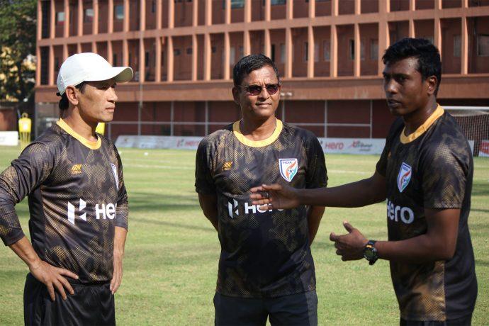 Gumpe Rime, Derrick Pereira and Shanmugam Venkatesh at the India U-23 national team camp. (Photo courtesy: AIFF Media)
