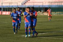 Bengaluru FC B attacker Naorem Roshan Singh is congratulated by teammates after scoring against FC Goa Reserves in the Hero 2nd Division League at the Bengaluru Football Stadium. (Photo courtesy: Bengaluru FC)