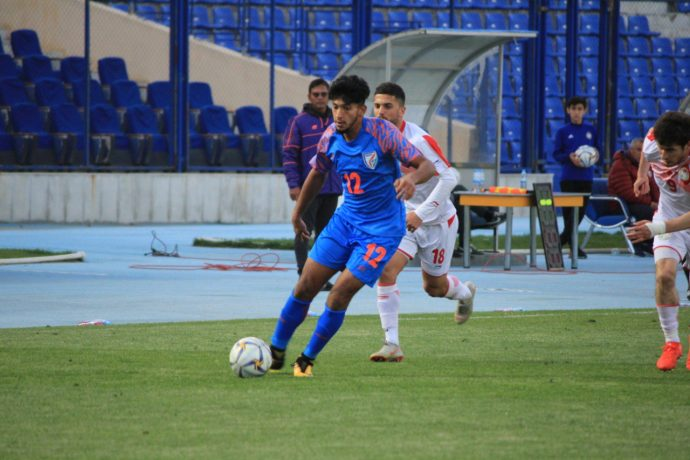 India U-23 player Abdul Sahal in action against Tajikistan in the AFC U-23 Championship qualifiers. (Photo courtesy: AIFF Media)