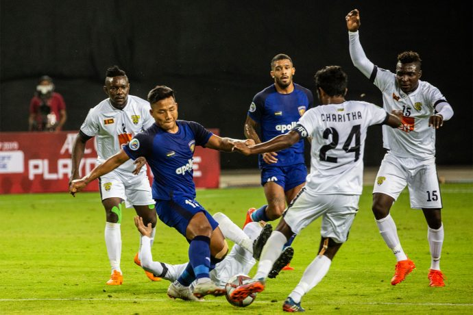 AFC Cup match action between Chennaiyin FC and Colombo FC. (Photo courtesy: Chennaiyin FC)