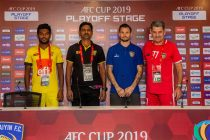 Colombo FC defender Charitha Bandara Rathnayake, Colombo FC Head Coach Ruwan Priyantha Kumara, Chennaiyin FC midfielder Chris Herd and Chennaiyin FC Head Coach John Gregory at the AFC Cup pre-match press conference. (Photo courtesy: Chennaiyin FC)