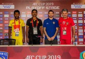 Colombo FC defender Charitha Bandara Rathnayake, Colombo FC Head Coach Ruwan Priyantha Kumara, Chennaiyin FC midfielder Chris Herd and Chennaiyin FC Head Coach John Gregory at the AFC Cup pre-match press conference. (Photo courtesy: Chennaiyin FC)