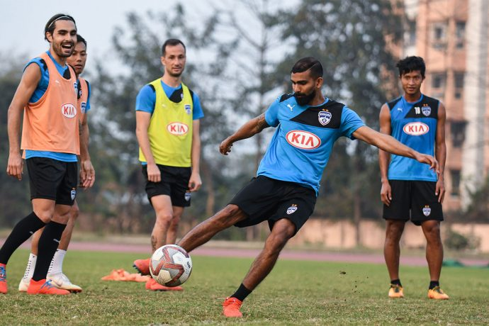 Bengaluru FC's training session ahead of their clash against NorthEast United in the second leg of the semifinal in the Indian Super League. (Photo courtesy: Bengaluru FC)