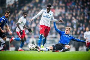 Bundesliga 2 match action between DSC Arminia Bielefeld and Hamburger SV. (Photo courtesy: Bundesliga)