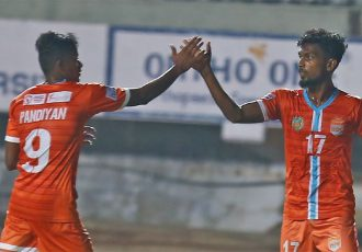 Chennai City FC players celebrating one of their goals in the Hero I-League. (Photo courtesy: AIFF Media)