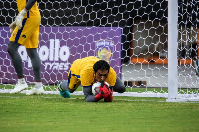 Chennaiyin FC goalkeeper Karanjit Singh during a training session. (Photo courtesy: Chennaiyin FC)