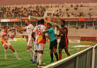 East Bengal FC players celebrating one of their goals against Gokulam Kerala FC in the Hero I-League. (Photo courtesy: AIFF Media)