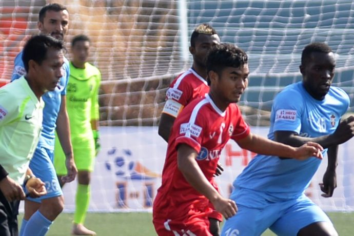Hero I-League match action between Aizawl FC and Churchill Brothers. (Photo courtesy: AIFF Media)