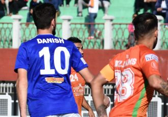 Hero I-League match action between NEROCA FC and Real Kashmir FC. (Photo courtesy: AIFF Media)