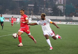 Hero I-League match action between Shillong Lajong FC and Mohun Bagan AC. (Photo courtesy: AIFF Media)