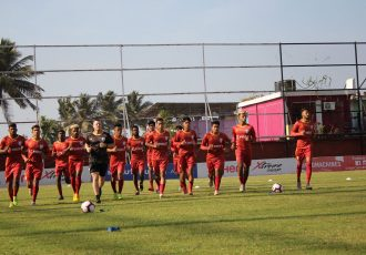 The India U-23 national team squad during a training session in Goa. (Photo courtesy: AIFF Media)