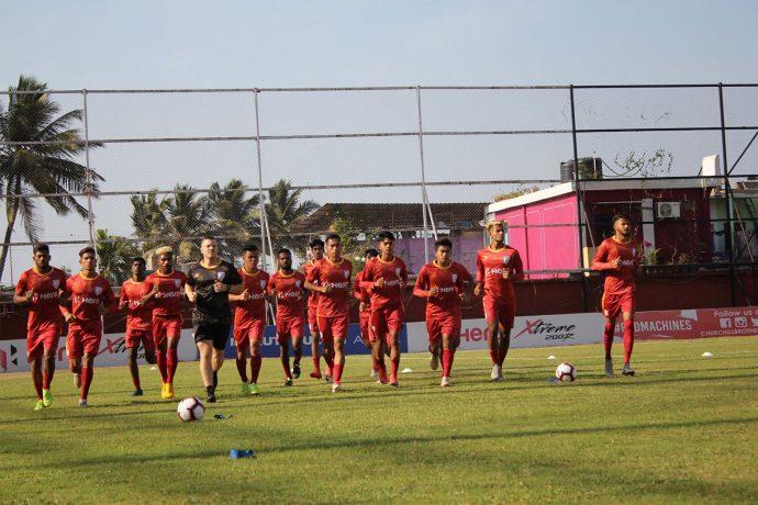 The India U-23 national team squad during a training session in Goa. (Photo courtesy: AIFF Media)