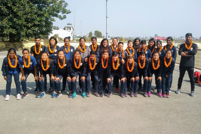 The Indian Women's national team moments after their arrival in Kathmandu, Nepal for the SAFF Women's Championship. (Photo courtesy: AIFF Media)