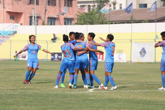 Indian Women's national team players celebrating one of their goals in the SAFF Women's Championship 2019. (Photo courtesy: AIFF Media)