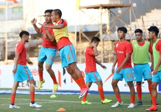Indian Arrows players during a pre-match warm-up. (Photo courtesy: AIFF Media)