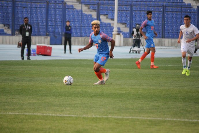India U-23 international Komal Thatal in action against Uzbekistan in the AFC U-23 Championship qualifiers. (Photo courtesy: AIFF Media)