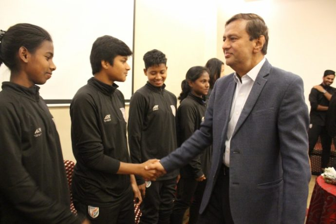 AIFF General Secretary Kushal Das congratulating the Indian Women's national team. (Photo courtesy: AIFF Media)