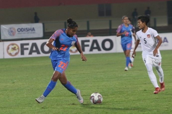 Manisha in action for the Indian Women's national team. (Photo courtesy: AIFF Media)