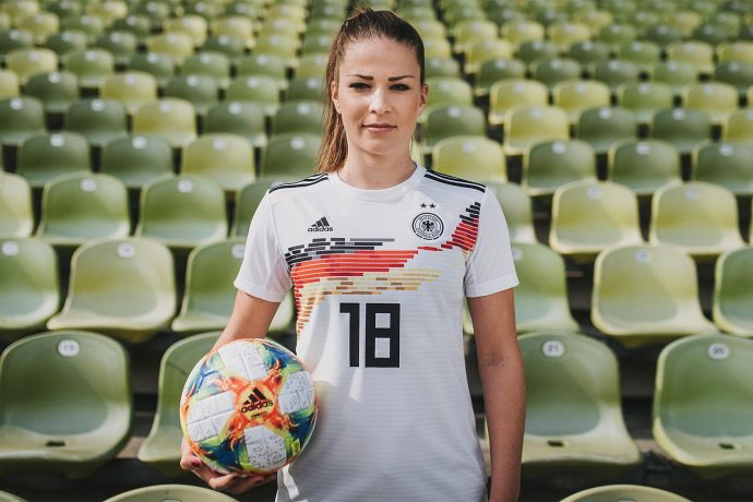 Melanie Leupolz presents the new German Women's national team home jersey. (Photo courtesy: adidas)