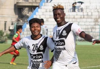 Mohammedan Sporting players celebrating one of their Hero 2nd Division League goals. (Photo courtesy: Mohammedan Sporting Club)