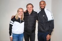 Bjørn Gulden (CEO, Puma) with Pauline Bremer (Manchester City Women's FC) and Vincent Kompany (Manchester City FC). (Photo courtesy: PUMA)