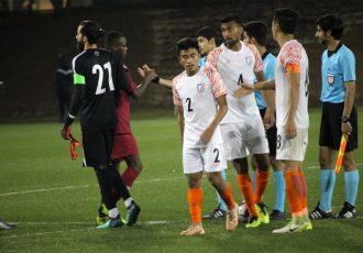 The India U-23 national team after their narrow loss to the Qatar U-23 national team. (Photo courtesy: AIFF Media)