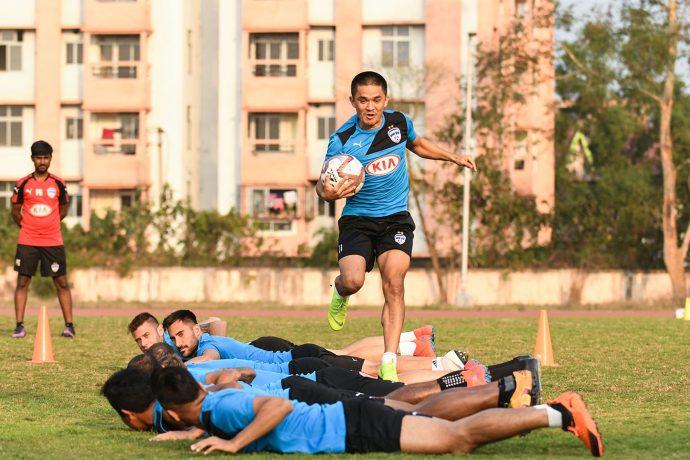 Star striker Sunil Chhetri during a Bengaluru FC training session. (Photo courtesy: Bengaluru FC)