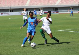 Match action between the women's national teams of India and Indonesia in a 2020 AFC Women's Olympic Qualifying Tournament Round 2 encounter. (Photo courtesy: AIFF Media)
