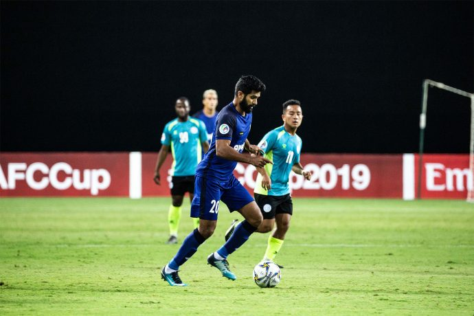 Chennaiyin FC forward Mohammed Rafi in action against Nepal's Manang Marshyangdi Club in an AFC Cup encounter. (Photo courtesy: Chennaiyin FC)