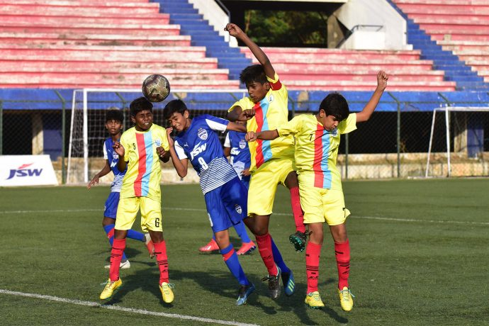 Hero Sub-Junior League match action between Bengaluru FC U-13 and Ananthapur Sports Academy at the Bengaluru Football Stadium, in Bengaluru. (Photo courtesy: Bengaluru FC)