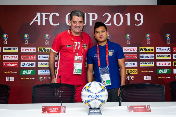 Chennaiyin FC head coach John Gregory and left-back Jerry Lalrinzuala at the AFC Cup pre-match press conference. (Photo courtesy: Chennaiyin FC)