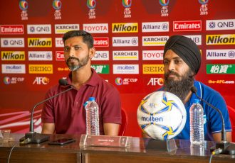 Minerva Punjab FC head coach Sachin Badadhe and midfielder Harminder Singh during the AFC Cup 2019 pre-match press conference. (Photo courtesy: Minerva Punjab FC)