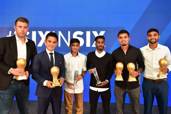 Juanan Gonzalez, Sunil Chhetri, Gautam Rajesh, Amay Morajkar, Rahul Bheke and Parag Shrivas, winners of the Individual Awards at the 2018-19 BFC Annual Awards Night. (Photo courtesy: Bengaluru FC)