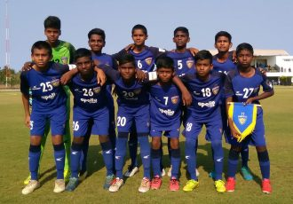 The Chennaiyin FC U-13 team before their Hero Sub-Junior League match. (Photo courtesy: Chennaiyin FC)