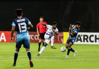 Chennaiyin FC forward CK Vineeth in action against Minerva Punjab FC in the 2019 AFC Cup. (Photo courtesy: Chennaiyin FC)