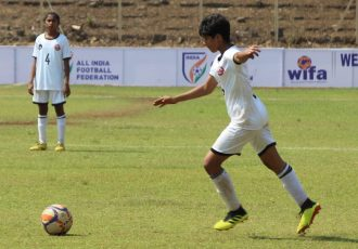 Gujarat's Drishti Pant in action at the Junior Girls' National Football Championship. (Photo courtesy: AIFF Media)