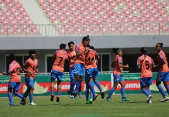 The Indian Women's national team during their pre-match warm-up. (Photo courtesy: AIFF Media)