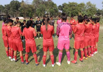 The Indian Women's national team moments before their trainig session. (Photo courtesy: AIFF Media)