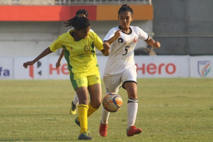 Match action at the Junior Girls' National Football Championships. (Photo courtesy: AIFF Media)