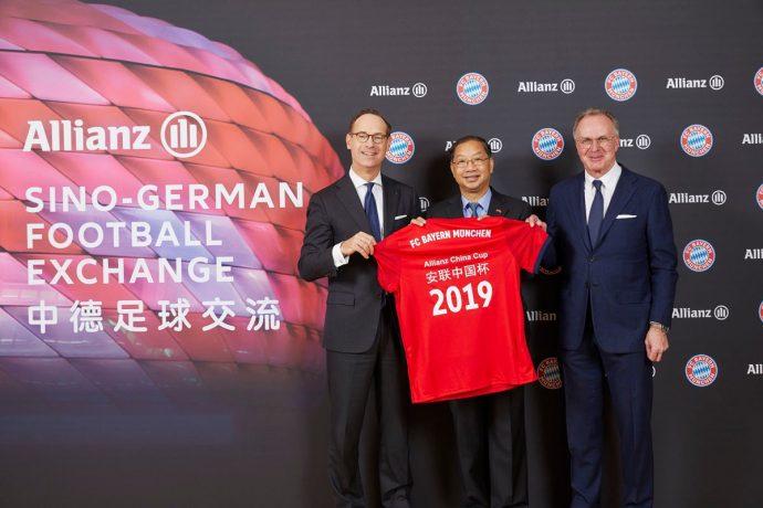 Allianz SE CEO Oliver Bäte, former Ambassador of China in Germany Shi Mingde and FC Bayern München AG CEO Karl-Heinz Rummenigge. (Photo courtesy: Allianz)