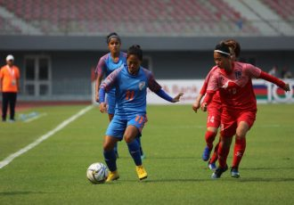 2020 AFC Women's Olympic Qualifying Tournament Round 2 match action between the Indian Women's national team and Nepal. (Photo courtesy: AIFF Media)