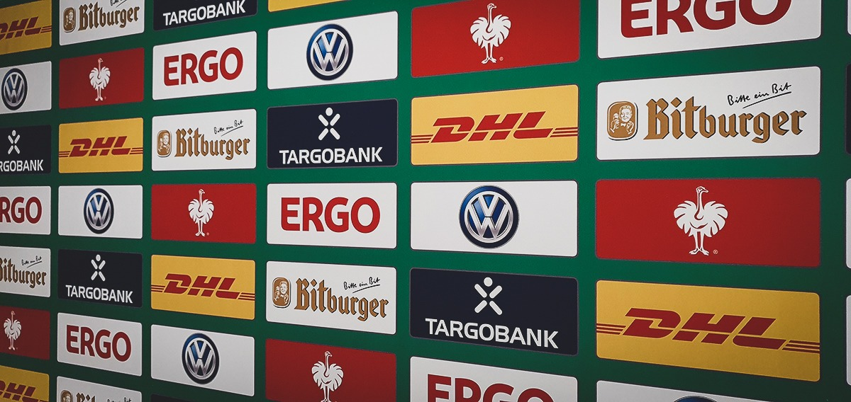 Sponsor backdrop at the DFB-Pokal der Frauen (German Women's Cup) final. (© CPD Football)