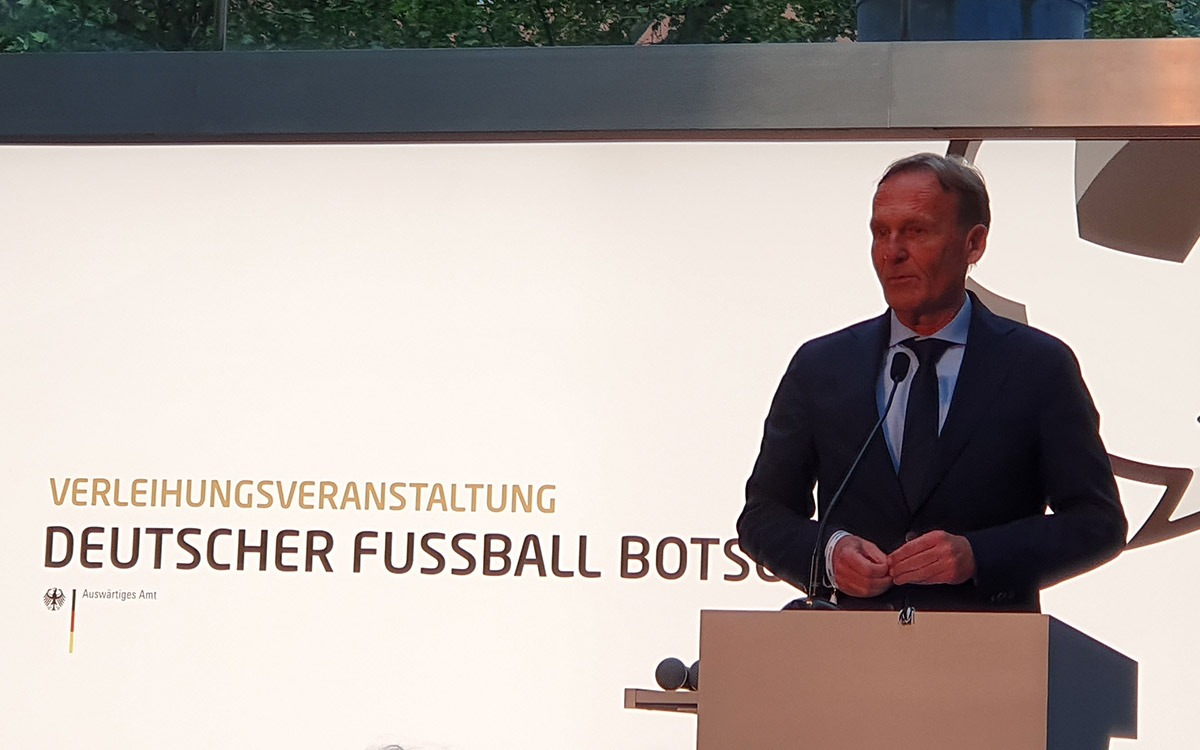 Hans-Joachim Watzke, CEO, Borussia Dortmund, at the Deutscher Fussball Botschafter Awards Ceremony 2019 in Berlin. (© CPD Football)