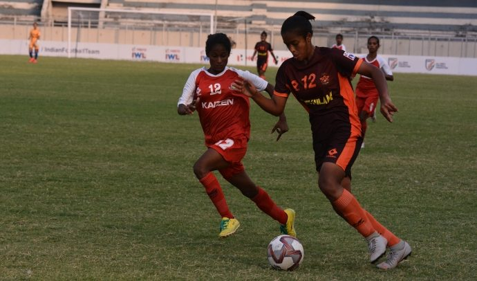 Indian Women's League match action between Gokulam Kerala FC and Rising Students Club. (Photo courtesy: AIFF Media)