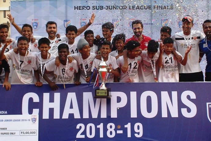 2019 Hero Sub-Junior League (U-13) champions Reliance Foundation Young Champs (RFYC). (Photo courtesy: AIFF Media)