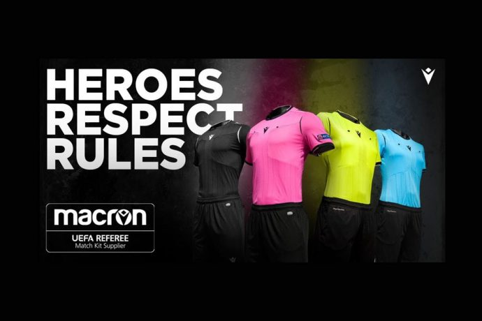 "Italian brand Macron announced as the new ""Official UEFA Referee Match Kit Supplier"". (Image courtesy: Macron)"