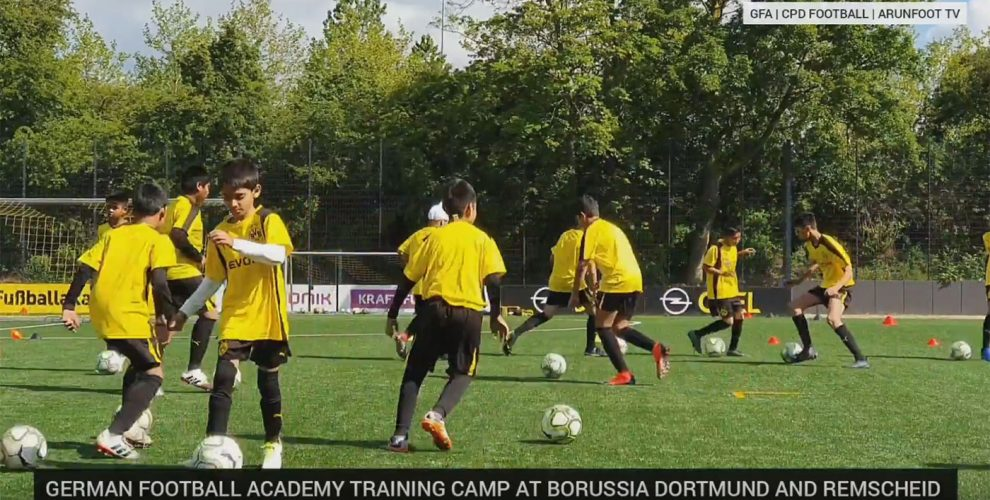 German Football Academy (GFA) boys during a training session at Borussia Dortmund's BVB Evonik Football Academy. (© CPD Football)