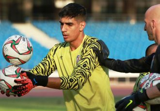 Indian national team goalkeeper Gupreet Singh Sandhu during a training session with goalkeeper coach Tomislav Rogić. (Photo courtesy: AIFF Media)