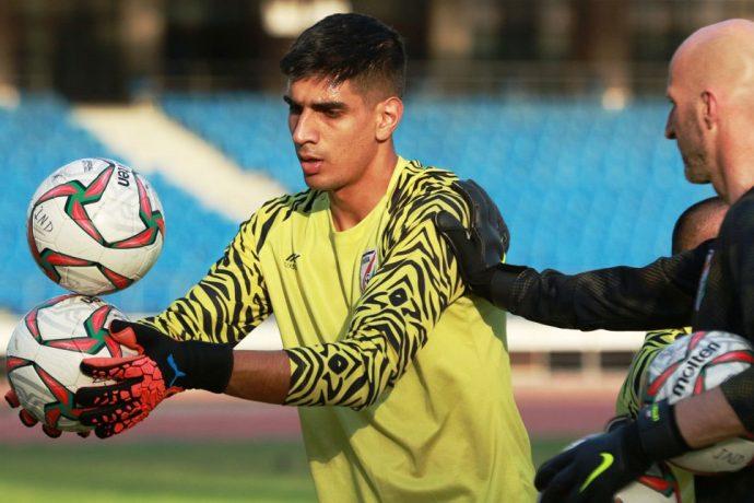 Indian national team goalkeeper Gupreet Singh Sandhu during a training session with goalkeeper coach Tomislav Rogić. (Photo courtesy: AIFF Media)